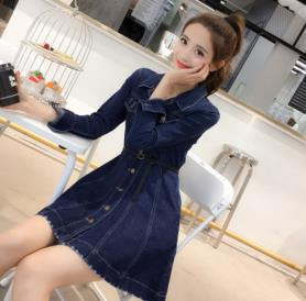 TUHAO 2018 Spring Women Blue Dress Slash Elegant Pocket Button Defined jean HIGH street Cowboy womens denim Dresses MS34