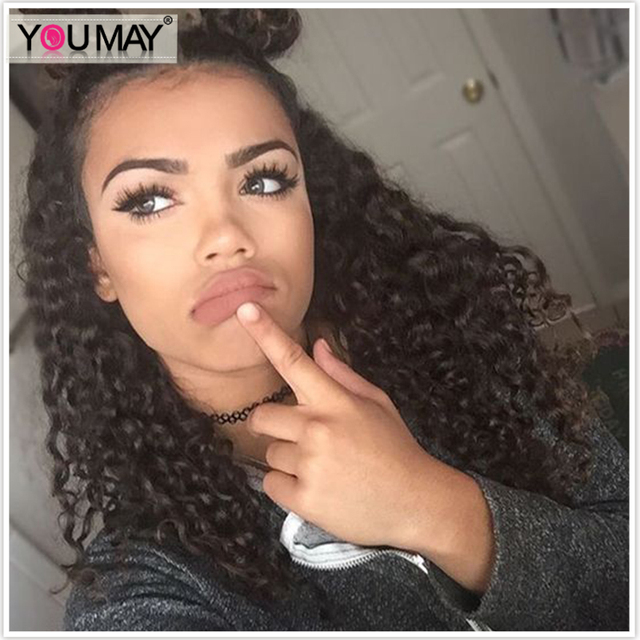 You May Remy Loose Curly 360 Lace Frontal Human Hair Wigs 180% Density Glueless Loose Curly 360 Lace Frontal Wigs With Baby Hair