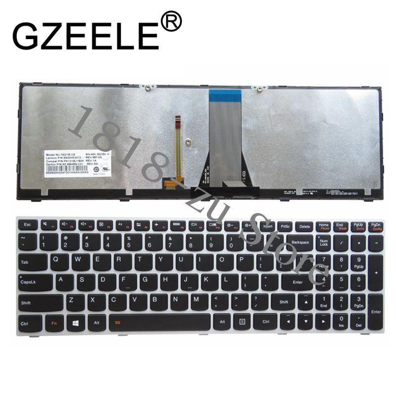 YALUZU English US Backlit Silver Keyboard For Lenovo Z5170 Z51-70 80K6 Z70-80 80FG