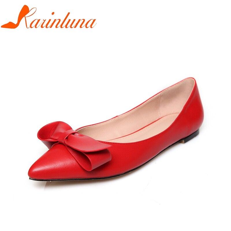 KARINLUNA 2018 весна осень Натуральная кожа плоские женщин туфли женщины большой размер 33-40 скольжения на Боути квартиры обувь женщина