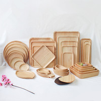 Japanese Round/Rectangle/Square/Oval Rubber Wood Pan Plate Fruit Dishes Saucer Tea Tray Dessert Dinner Bread Wood Plate|Dishes & Plates| |  -