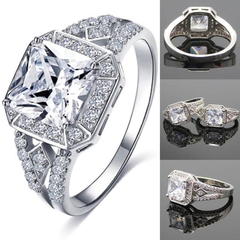 2018 HOT Elegant Ring For Women Engagement Wedding Female Shinning Zircon Big Square Rings Jewelry Size 6-9 ...