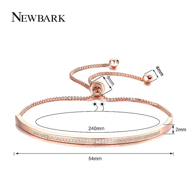 NEWBARK Top Qualità Bracelet & Bangle per Le Donne Captivate Bar Cursore Brillante CZ Rosa Color Oro Gioielli Pulseira Feminina
