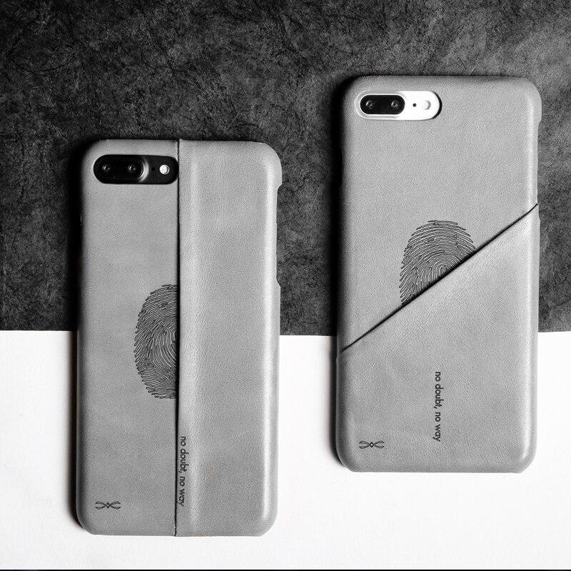 imágenes para D-parque nuevo cuero genuino de la vendimia case para iphone 7/7 plus ultra delgado volver cubierta protectora case ranura para tarjeta para iphone 7/7 plus