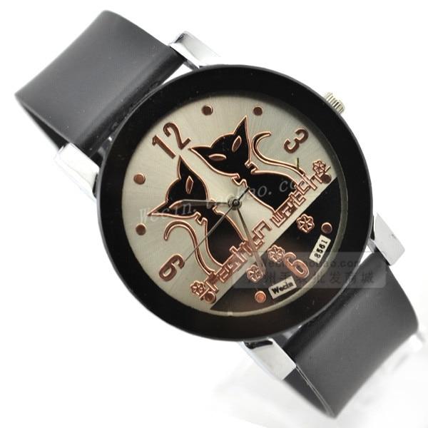 Fashion Casual Lady Quartz Watch Women Dress Watches Shiny PU Leather Strap Clock Woman Black Cat