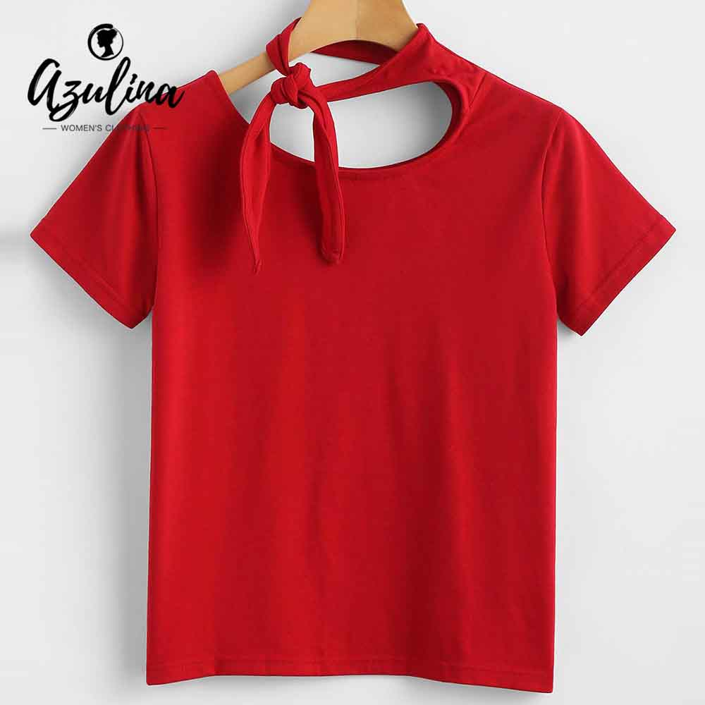 AZULINA Self Tied Knot Tee 2018 Summer T-Shirt Chic O Neck Short Sleeve T Shirt Ladies Tops Casual Women Tee Shirt Girls Clothes