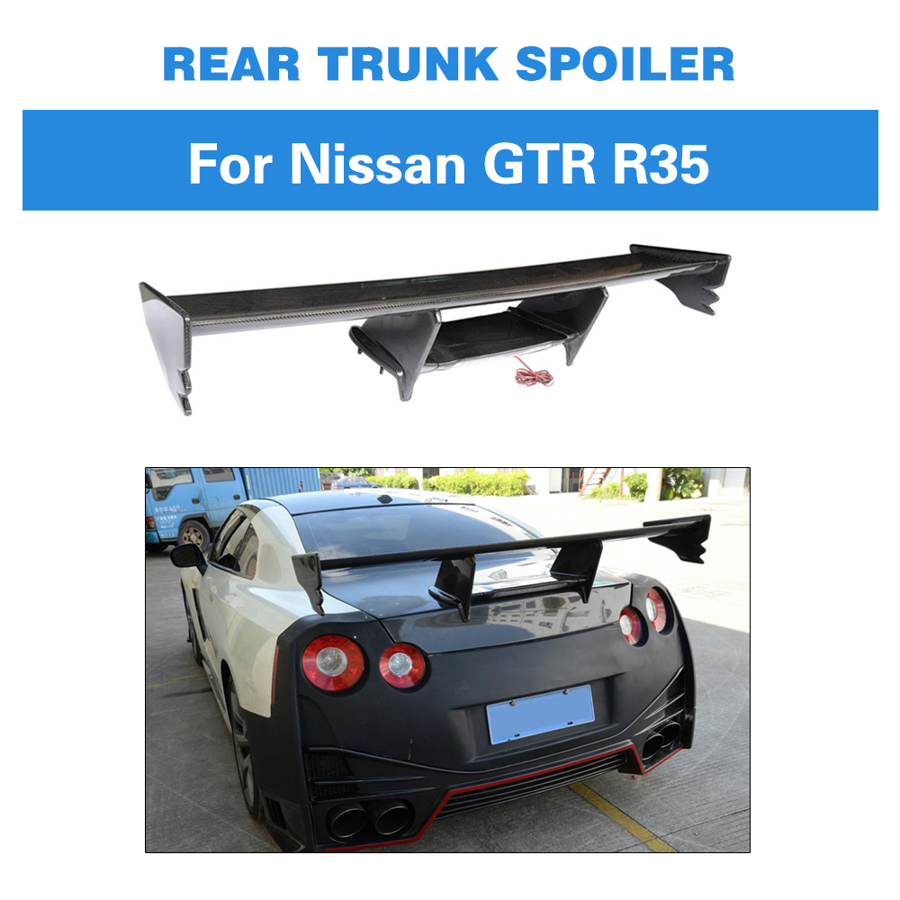 Carbon Fiber <font><b>Rear</b></font> Wing <font><b>Spoiler</b></font> for Nissan <font><b>R35</b></font> GT-R <font><b>GTR</b></font> 2009 - 2015 Auto Racing Tail Trunk Lid boot Lip wing image