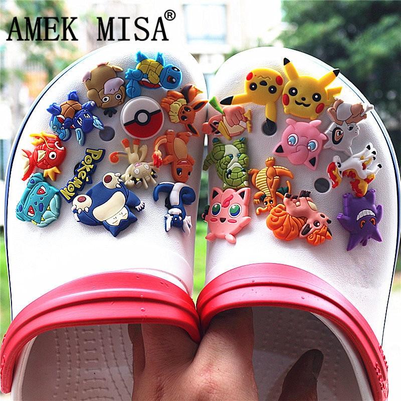 23Pcs/Set PVC Shoe Decorations Cartoon Pokemon Garden Shoe Croc Charms Pikachu Shoe Accessories For JIBZ/ Wristbands Kids Xmas