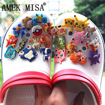 23Pcs/Set PVC Shoe Decorations Cartoon Pokemon Garden Croc Charms Pikachu Accessories for JIBZ/ Wristbands kids Xmas
