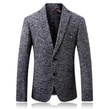 Лучший!  Пиджак осень и зима новая мужская мода простой шерстяной пиджак мужской бутик большой бизнес случай�