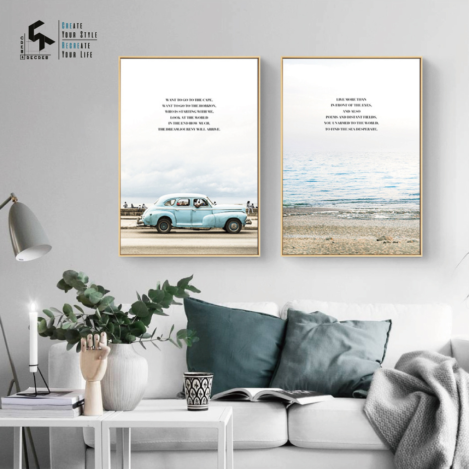CREATE RECREATE Nordic Poster Ocean Quote Posters And Prints Sea Wall Art Canvas Painting Home Decoration Pictures CR1810115027 in Painting Calligraphy from Home Garden