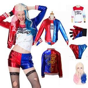Dorosłych kobiet Harley Quinn kostiumy T-Shirt krótkie spodnie kurtka samobójstwo Squad Cosplay kostium na halloween zestaw peruki kurtka rękawiczki krótkie