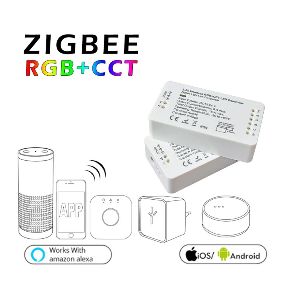 ZIGBEE ZLL RGB+CCT LED Controller RGBWWCW dimmer strip Controller DC12/24V comptaible with amazon echo plus hue zll standard home smart rgb rgbw zigbee led strip controller zigbee app control zll light hue compatible with echo plus osram lightify wifi