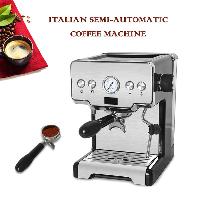Commercial Electric Coffee Machine Espresso Coffee Maker with Milk Foaming Semi-automatic Italian Latte Coffee Office 1
