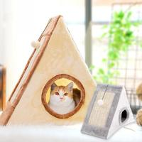 Cats Tent Hanging Ball Toy Foldable Cat Bed Tri angle Playhouse Small Cat Cave Pet Supplies With Scratching Board Cosy