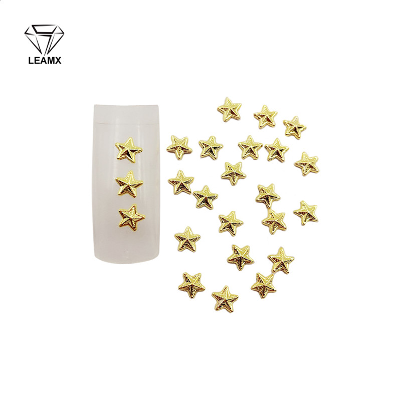 50 PCSbag Golden Star Type 3D Nail Art Decorations 5*5 mm Beautiful Girl Carm Lovely DIY Nail Stickers