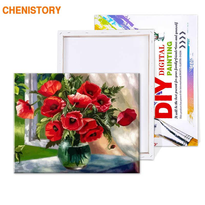 CHENISTORY フレームレス赤花 Diy の塗装 Provenc ハンドペイント油絵アクリル装飾のためのキャンバスにペイント 40 × 50
