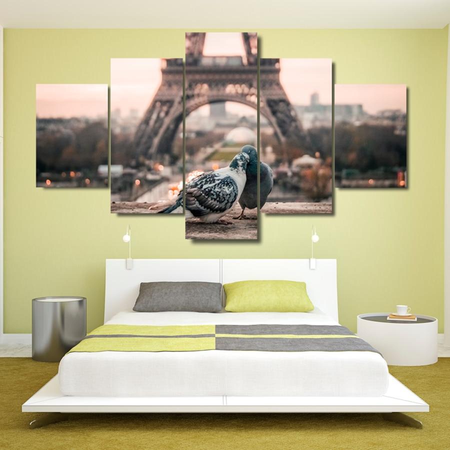 Canvas HD Prints Pictures Home Wall Art Room Decor 5 Pieces Paris ...