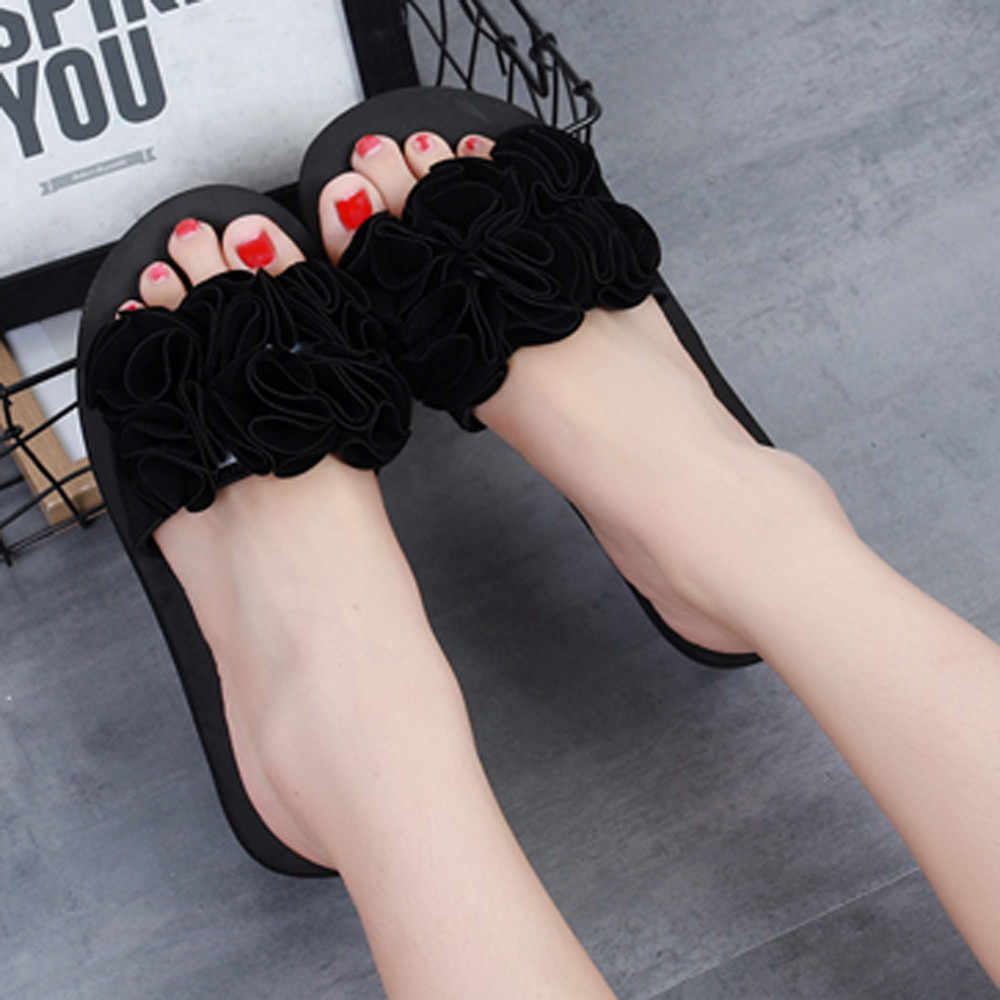 Women's Summer Bow Fashion Sandals ladies Casual Letters Solid Color Slippers Indoor Outdoor Female Soft Beach Shoes mujer
