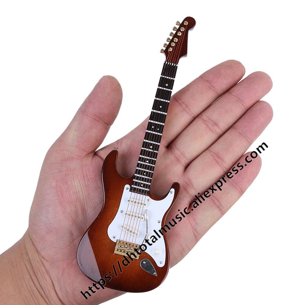 Mini guitarra elétrica modelo miniatura decoração instrumentos musicais com caso e suporte