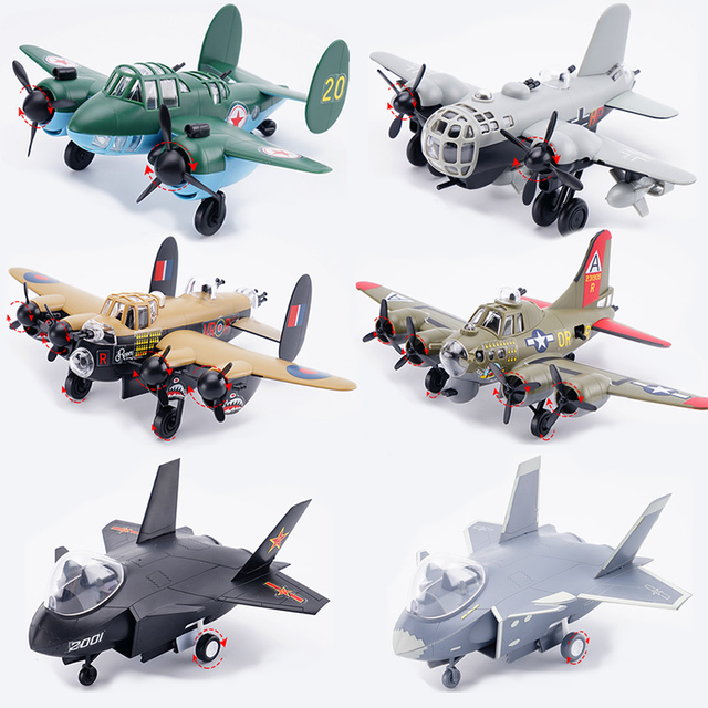 6 Styles Q Ver World War II Classic airplanes Bomber B-17G HE-177 TU-2 and Fighter jian 20 Assembly Model Building Kits diy toys