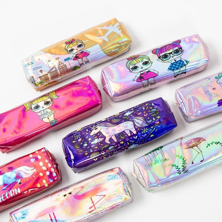Caixa de lápis a laser cartucheres para lapis escolar único escola astucci etui penn unicórnio meninas bolsa kawaii