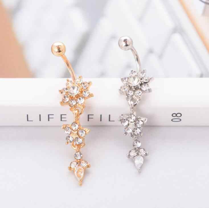 Chất Lượng cao 2017 Sexy Dangle Belly Bars Belly Nút Nhẫn Belly Piercing CZ Tinh Hoa Body Jewelry Navel Piercing Nhẫn