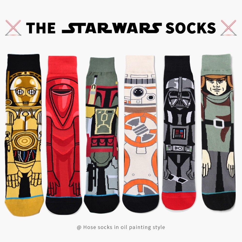 6 Pairs Star Wars Socks American Cartoon Men Socks Black Warrior Personality Warm Crew Socks Funny Planet Battle Vader Socks hockey sock