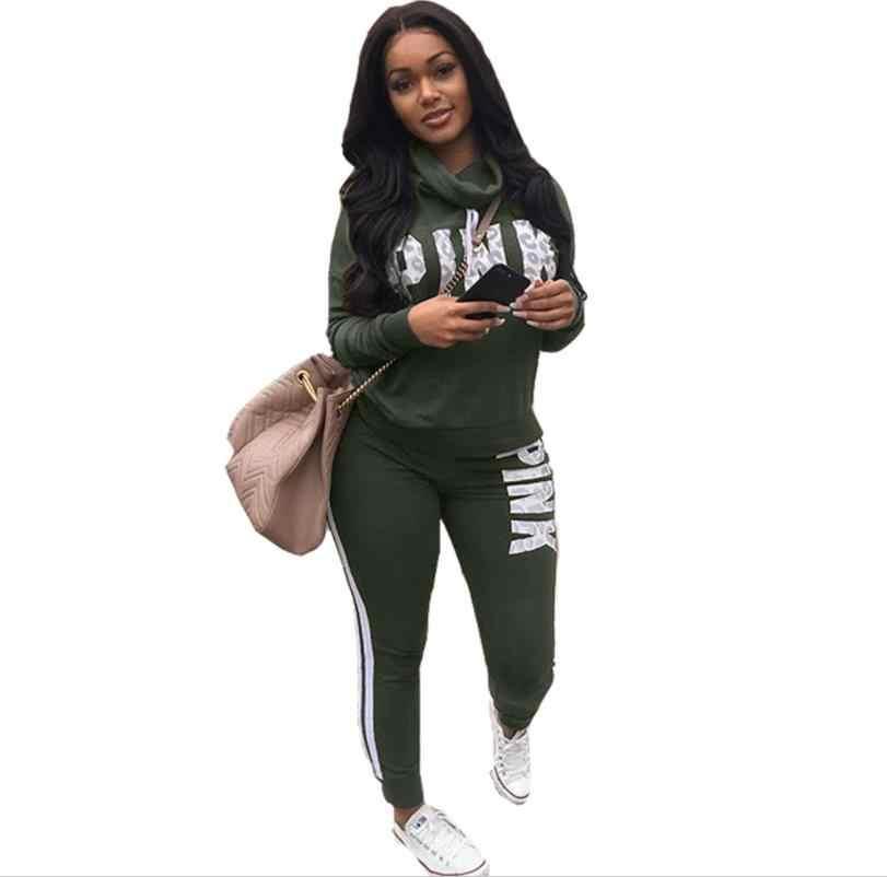 Huruf Cetak 2 Sepotong Set Wanita Celana dan Top Musim Gugur Plus Ukuran Kasual Pakaian Sweter Dua Sepotong Sweatshirt Pakaian Latihan Yg Hangat