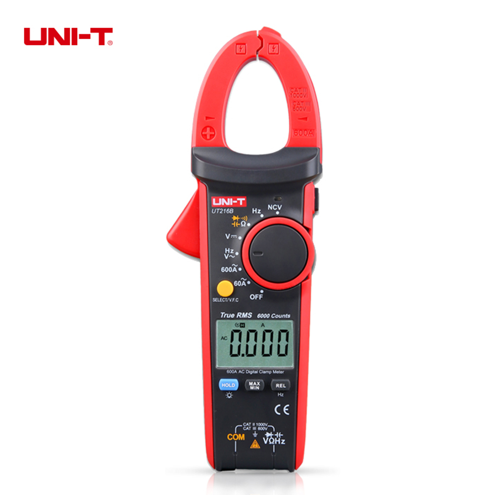 UNI-T UT216B LCD Display 600A True RMS Digital Clamp Meters Auto Range w/ NCV V.F.C. & Frequency Current Clamp Tester Multimetro uni t ut70b lcd digital multimeter auto range frequency conductance logic test transistor temperature analog display