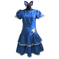 2019 Fairy Tail 4th Anime The Final Season Lucy Dress Happy lolita dress head wear accessory cute tail party girls dress outfit