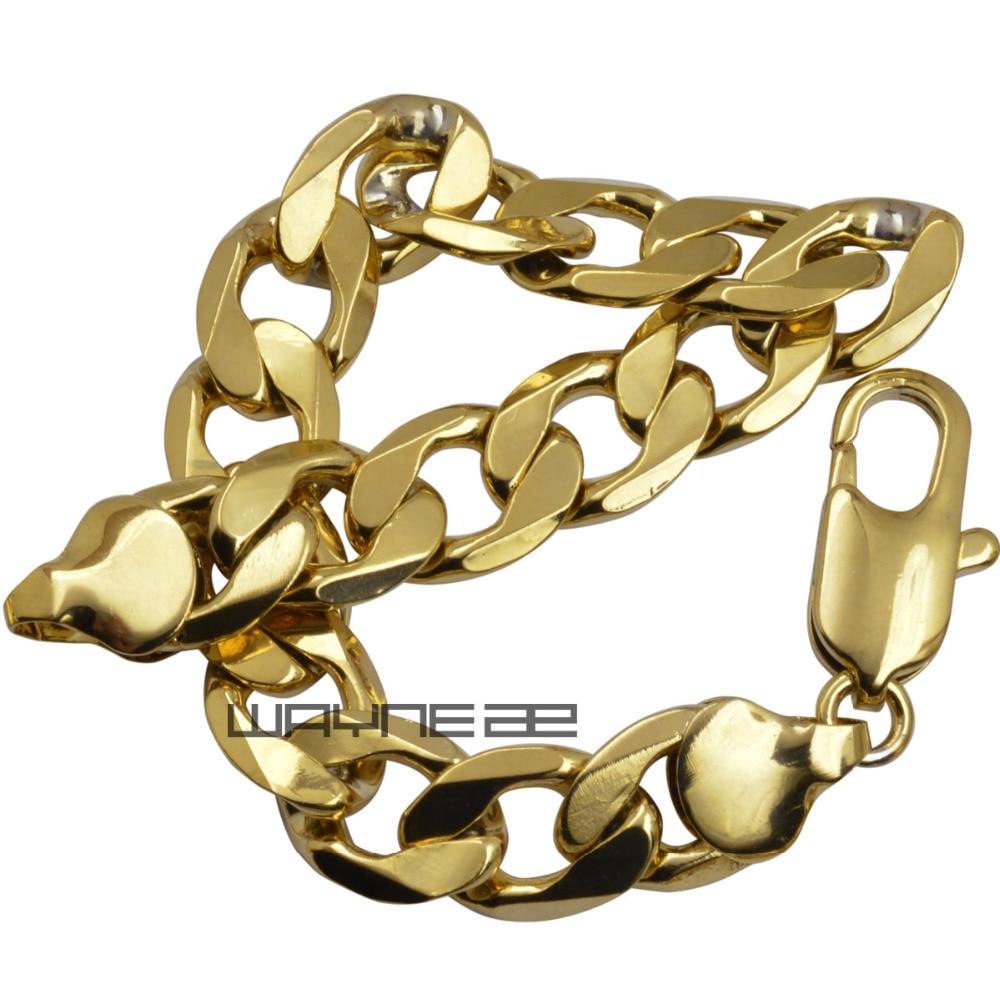 6017591c5 18ct yellow Gold Filled curb cadeia mens bracelet bangle jóias sólida B149