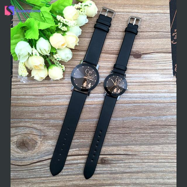 New Lover's Watch Student Couple Stylish Quartz Wrist Watch Love Witness Symbol Lovers Printed Glass Belt Quartz Watches Relogio