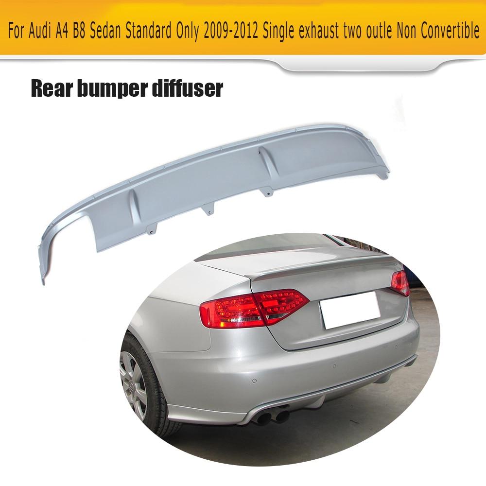 PU Rear Bumper Diffuser lip Spoiler With splitters for Audi A4 B8 standard Sedan 4Door 09-12 Non Sline Single exhaust two out