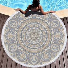 Mandala Round Beach Towel with Tassel Yoga Mat Bedspread Tapestry Blanket Absorbent Microfiber 2019 New Fashion Style(China)