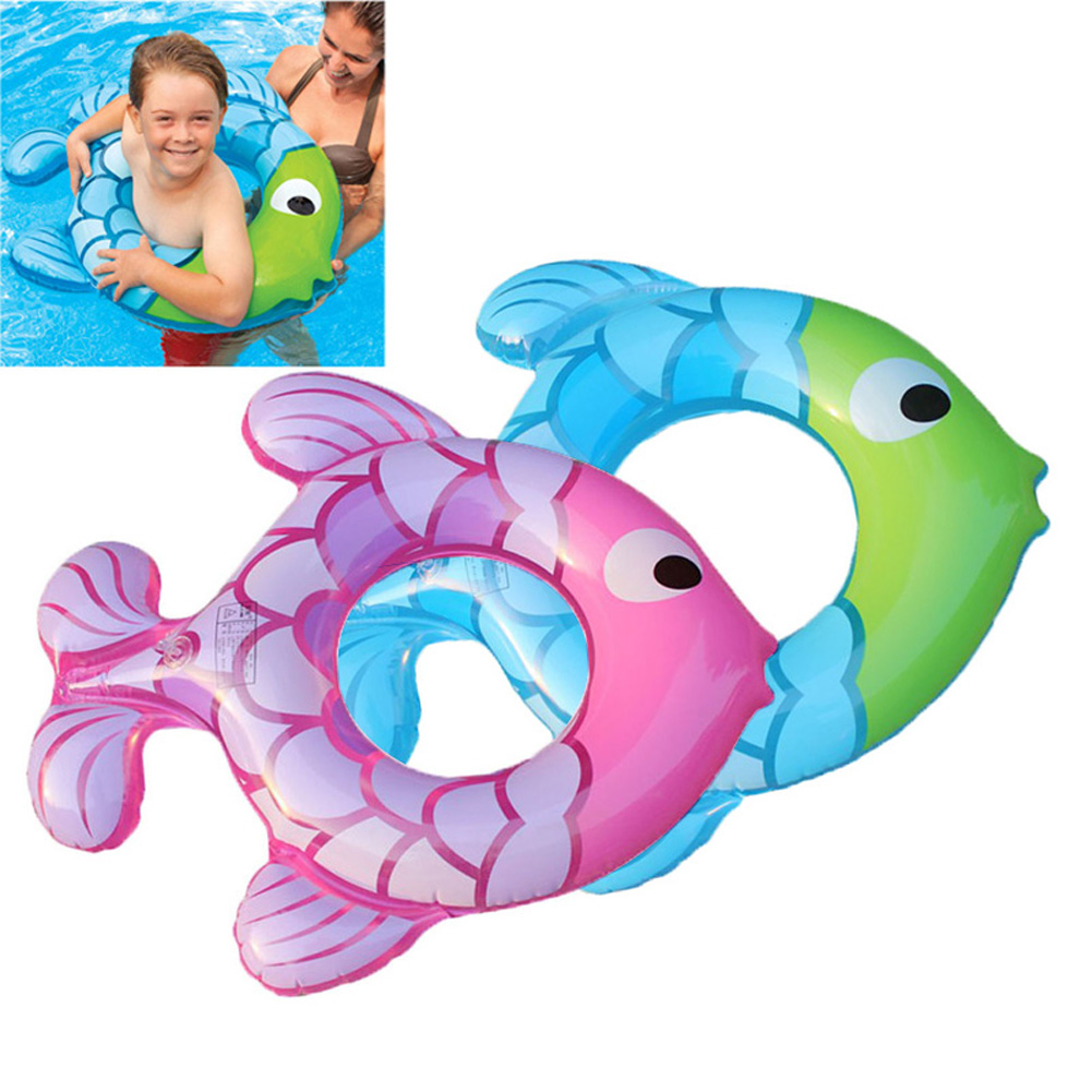 Children Kids Swimming Ring Fish Shape Seat Inflatable Pool Float Summer Water Toy BB55