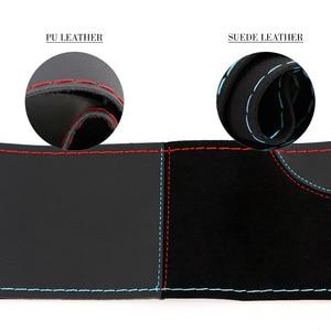 Image 5 - O SHI CAR 38cm DIY Steering Wheel Cover Wear resistant Soft PU + Suede Leather Car Steering Wheel Braid With Needles Thread