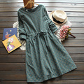 3 colors-- vintage print slim waist lacing long-sleeve o-neck one-piece dress drawstring  full dress 2016 autumn