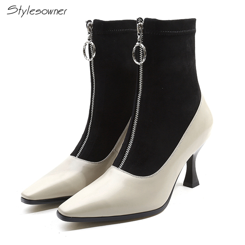 Stylesowner Sexy Front Zipper Patchwork High Heel Boots Elastic Stretch Heel Sock Boots New Fashion Square Toe Lady Boots Size42