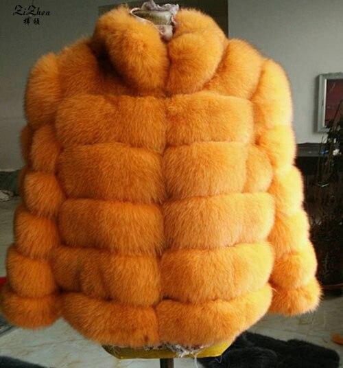 Mulheres Natural Genuine Fox Fur Casaco de Inverno Quente Verdadeira Pele Natural para inverno Casaco Feminino Casaco Com Gola Estilo Listrado 180427 -1