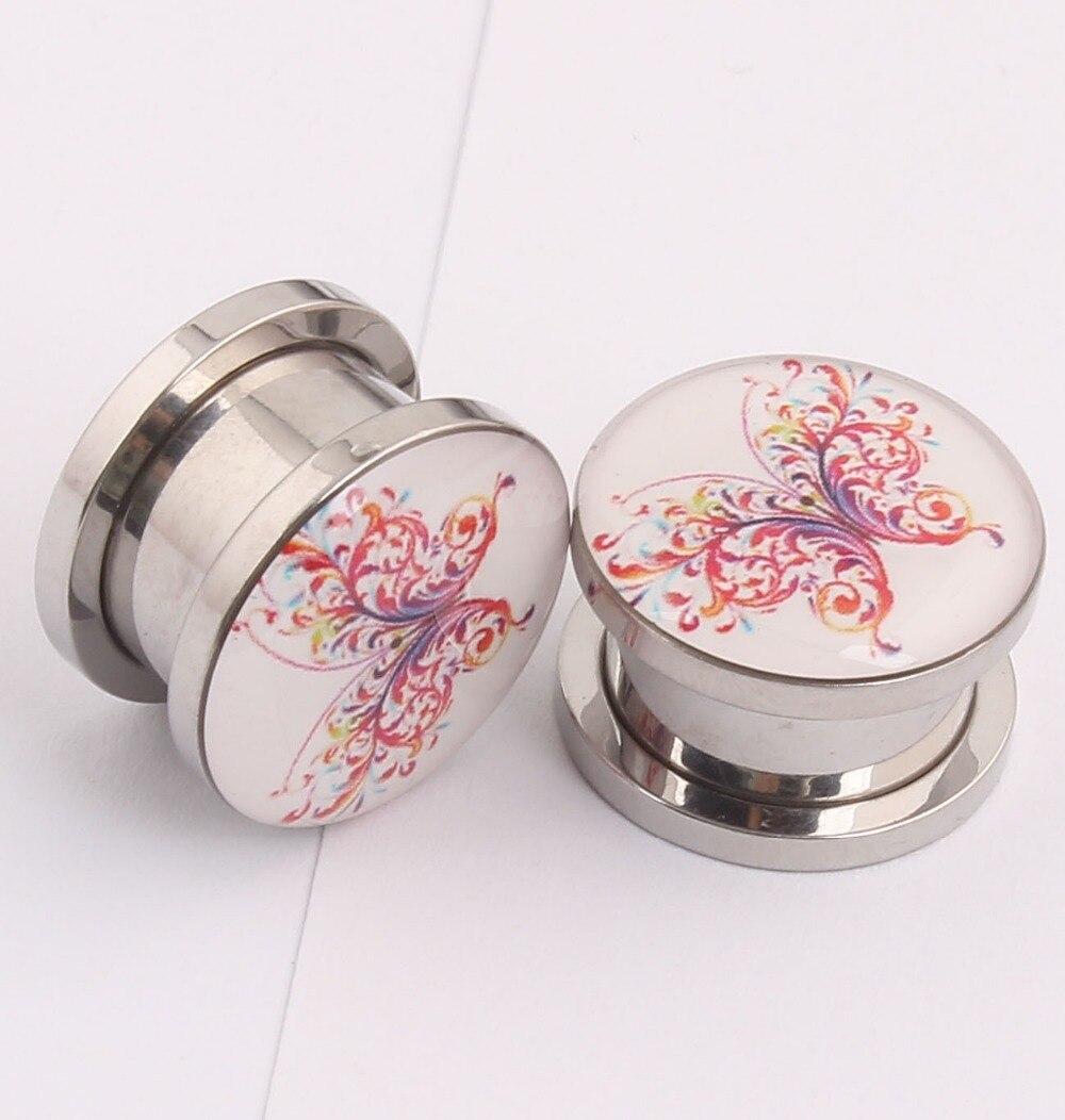 1 pair borboleta Ear Expander body piercing Jóias Flesh Tunnel Aço  Inoxidável Ear Plugs calibres expansor oreja 5ea654b839