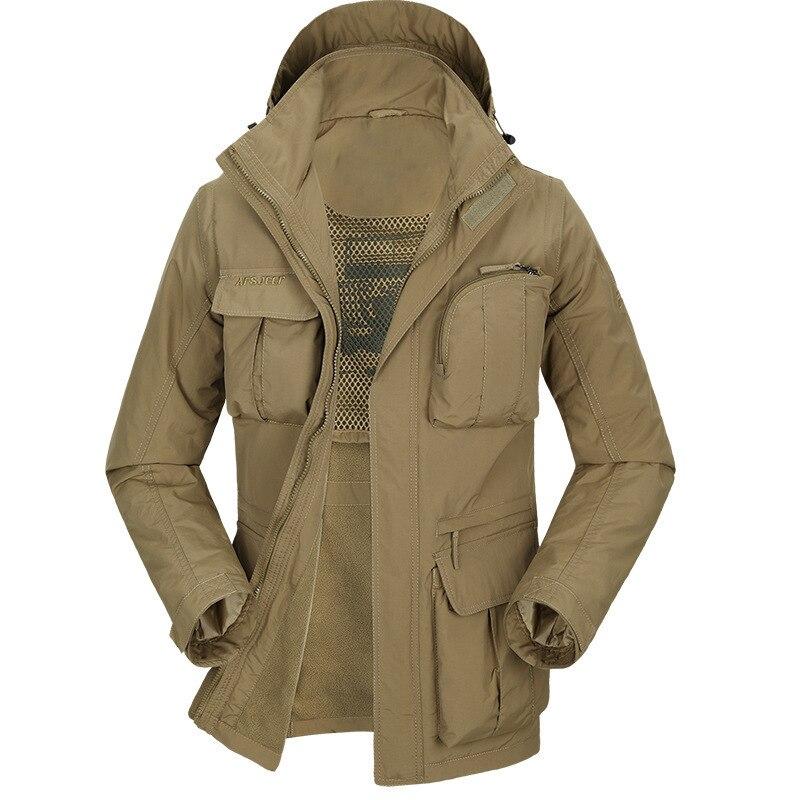 Outdoor Men's Winter wear warm Thickening Jacket Multi pocket Male Windproof Waterproof removable sleeves Outwear hiking coat