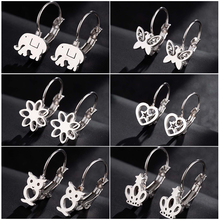 Hfarich Fashion Big Round Earrings For Women Stainless Steel Elephant Butterfly Heart Statement Shopping 2019