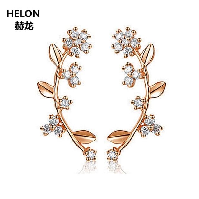 Natural Diamonds Women Engagement Stud Earrings Solid 14k Rose Gold Girl Wedding Anniversary Party Earrings