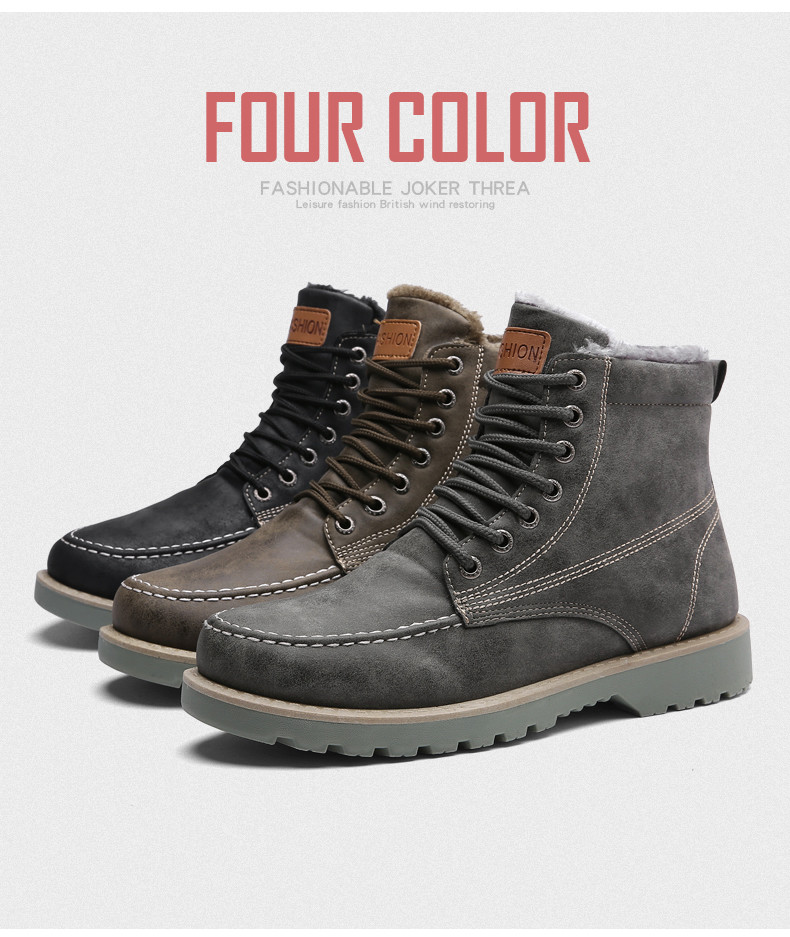 2417caf3897 JKPUDUN Vintage Men Boots Lace-Up Winter Leather Martin Boots Men  Waterproof Work Tooling Safety Ankle Boots Casual Shoes Botas