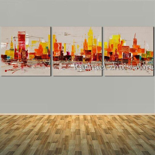 4598 49 De Descuentopintura Al óleo De Citysacpe Abstracta Pintada A Mano En Lienzo Tres Panles Edificios Abstractos Pared Picturer Para La