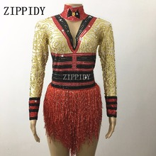 Sparkly Red Gold Rhinestone Bodysuit Female Singer Performance Leotard Stage Wear Nightclub Shining Costume Tassels Dance Wear