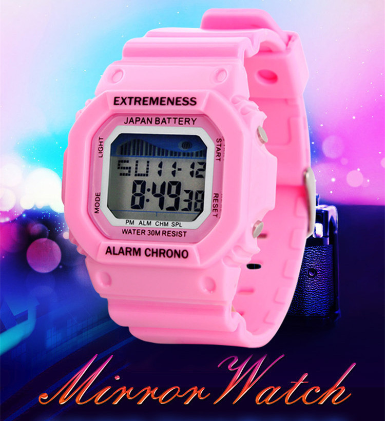Beautiful Women Candy Color Rubber Wristwatch Quartz 30M Waterproof Brand Chronograph Sport Watch Square Jelly Clock