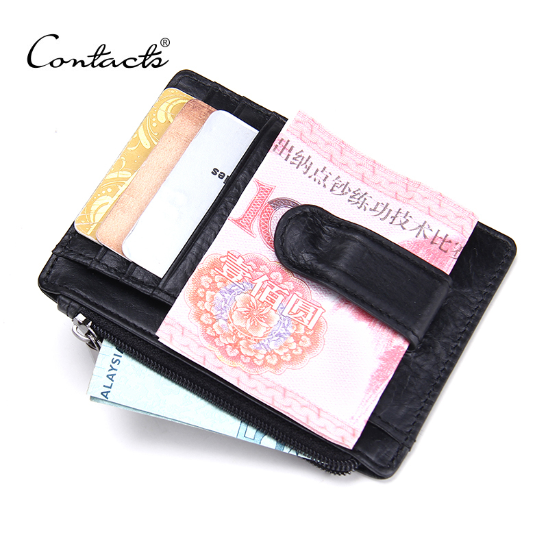 Fashion New Design High Quality Genuine Leather Money Clips Multi ID Hoder Photo Bit Men Wallets With Zipper Coins Pocket Wallet