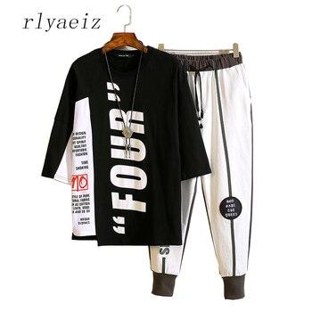 Rlyaeiz Brand New Fashion Sporting Suit Men Sweat Suit 2018 Summer Casual Hip Hop Letter Printed T shirt + Shorts Tracksuit Set